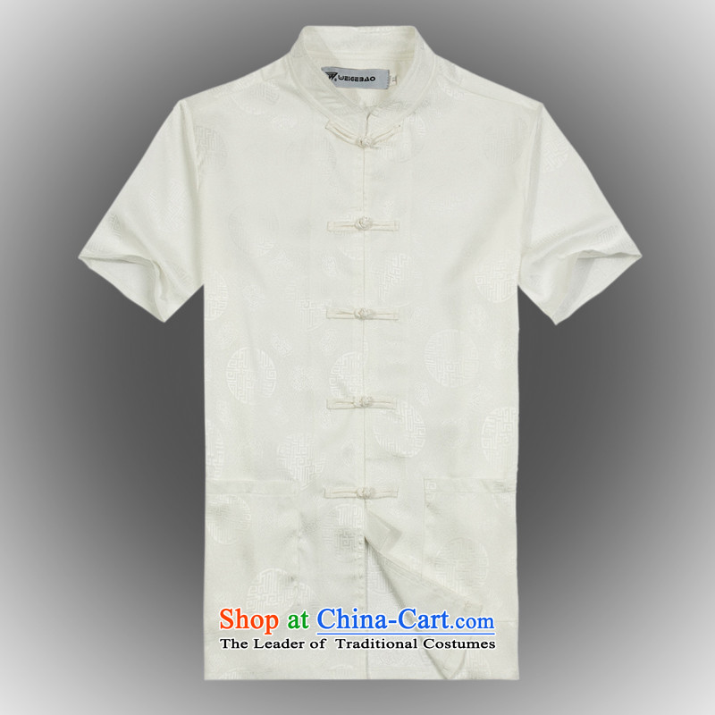 Whig Po 2015 Summer New Products China wind short-sleeved T-shirt men Tang dynasty T-shirt stylish shirt B-002 Tang Services White XL
