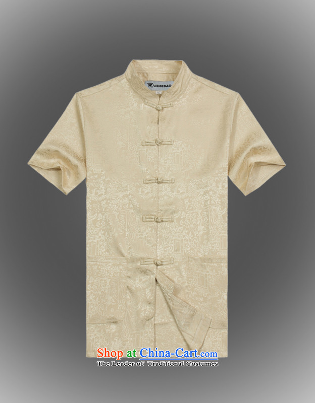 Whig Po 2015 Summer New Products China wind short-sleeved T-shirt men Tang dynasty燭-shirt stylish shirt B-003 Tang services燲XXL Beige