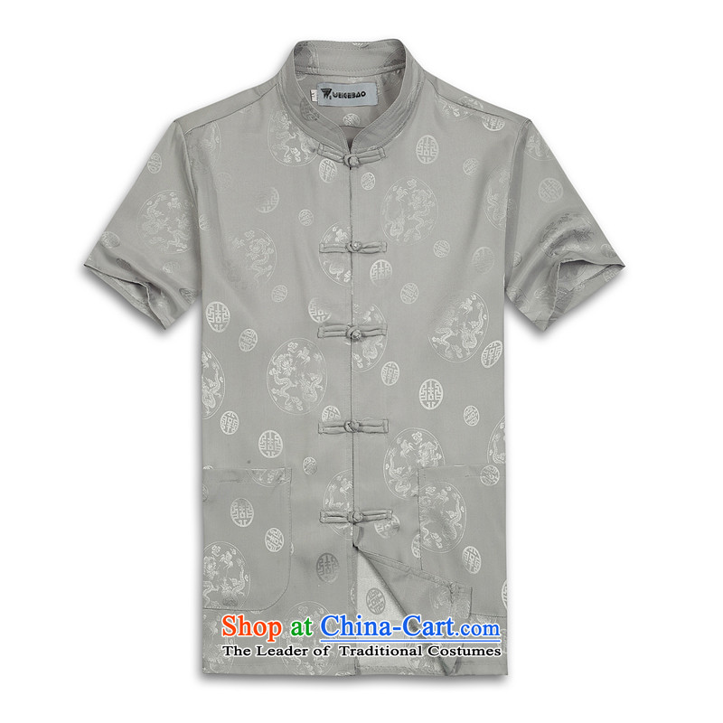 Whig Po 2015 Summer New Products China wind short-sleeved T-shirt men Tang dynasty聽T-shirt stylish shirt B-004 Tang service silver gray聽XL