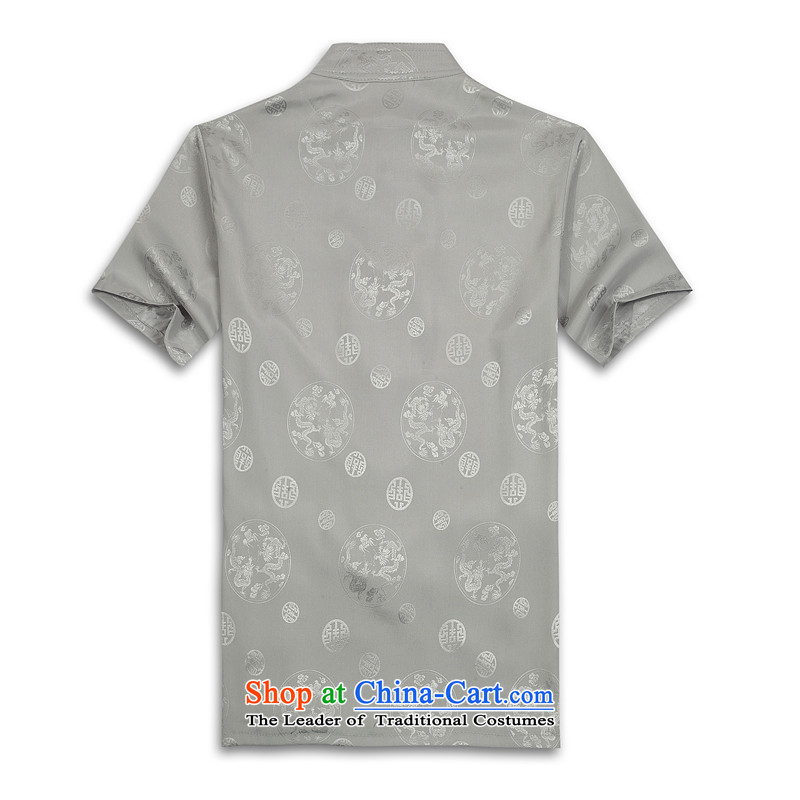 Whig Po 2015 Summer New Products China wind short-sleeved T-shirt men Tang dynasty聽T-shirt stylish shirt B-004 Tang service silver gray聽XL, fruit of shopping on the Internet has been pressed.