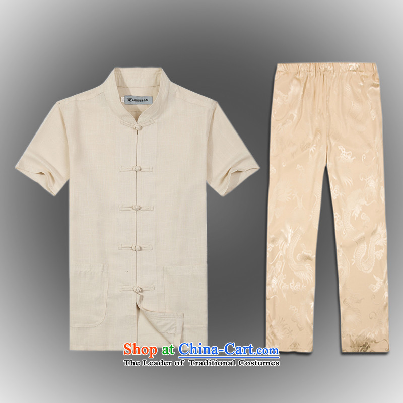Whig Po 2015 spring/summer load new products in Tang dynasty China wind older kit men stylish shirt pants B-001a Tang services XXL(54) Beige