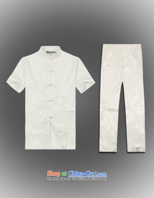 Whig Po 2015 spring/summer load new products in Tang dynasty China wind older kit men stylish white Pants Shirts service Tang?XL(52)