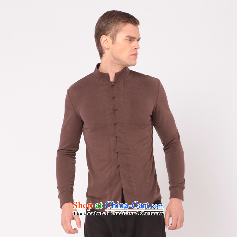 Seventy leisure or business Chinese Improvement Tang Tang dynasty male l stylish ethnic costumes China wind Sau San shirt compassionate stylish original cardigan聽323聽Brown聽XL