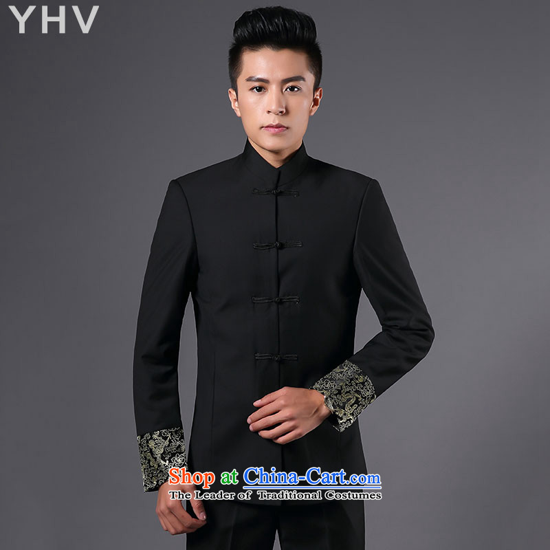Tang Dynasty YHV men Chinese tunic kit retro-deduction for both business and leisure Han-Men's Mock-Neck suit Chinese wedding dress pants marriage groom Sau San Pack black dragon tattoo Tang dynasty 170L