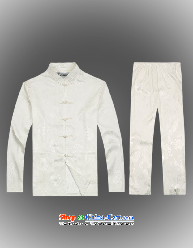 Hot聽Spring 2015 new products from Vigers Po Tang dynasty China wind men t-shirt聽T-shirt packaged services silk shirts B-0116a Tang聽L_50_ White