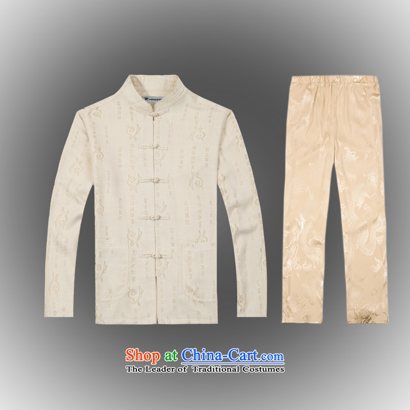 Whig Po Spring 2015 new products China wind long-sleeved shirt men Tang dynasty T-shirt Kit Tang services cotton linen B-0114a shirt, beige L(50)