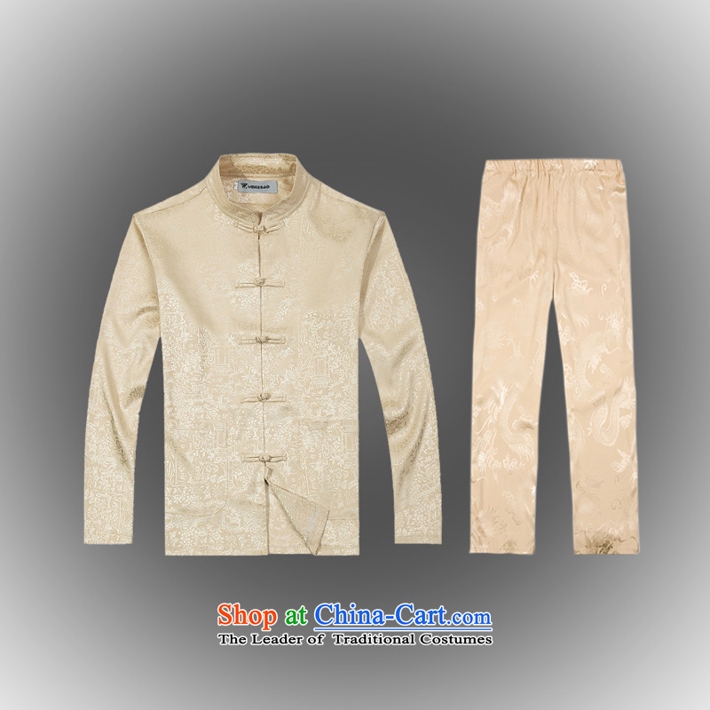 Hot聽Spring 2015 new products from Vigers Po Tang dynasty China wind men t-shirt聽T-shirt packaged services silk shirts B-0112a Tang聽XXXL_56_ Beige