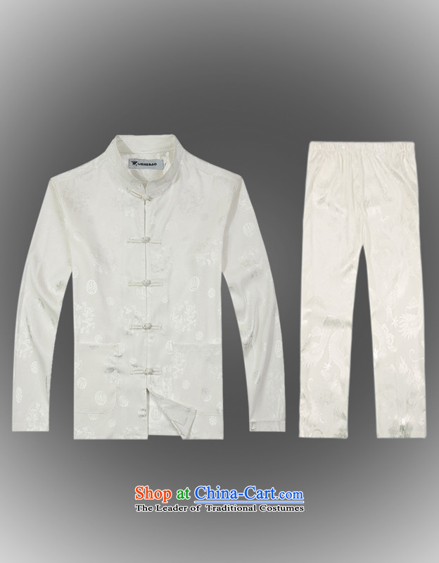 Spring 2015 new products from Vigers Po China wind long-sleeved shirt men Tang dynasty T-shirt kit shirt B-0111a Tang services silk XL(52) White