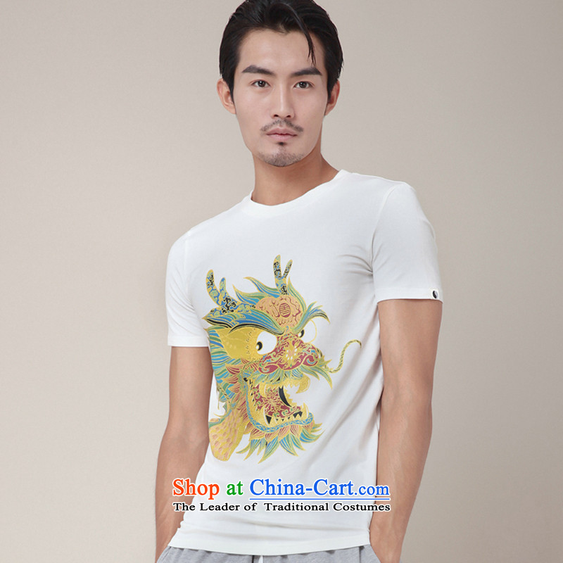 Nt 2.7 no polarity Road, Tang Design First Chinese short-sleeved gold dragon stamp T-shirt new explosions_ Tang dynasty personality TEE346 male and White XL
