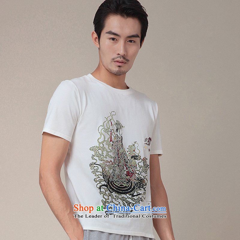 Nt 2.7 no polarity Road, Tang Design China wind eight immortals myth series summer-Dong Lu Bin stamp new original short-sleeved T-shirts Tang male and TEE 336 white�L