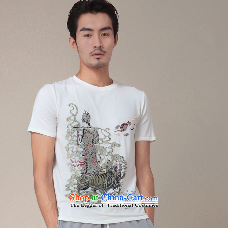 Seventy-tang original non-polarity road design China wind summer 8 cents story Han Xiang sub-stamp short-sleeved T-shirt with round collar male and eight immortals TEE 333 white?L