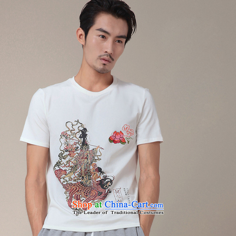 Nt 2.7 no polarity Road, Tang Original summer T shirt of Chinese Mythology Pat Sin Ho Fairy Zixia Chinese short-sleeved T-shirt with round collar stamp male and 334 White?M TEE