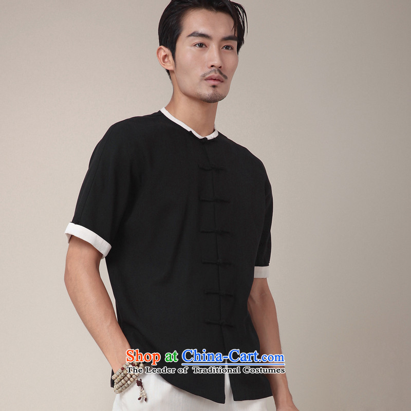 Seventy-tang China wind shirt linen Tang Upgrade Version days silk Chinese Disc detained men improved round-neck collar short-sleeved T-shirt for summer national 360 Black燲L