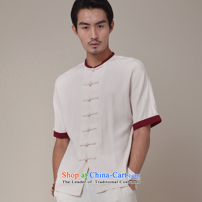 Seventy-tang China wind male short-sleeved Upgrade Version Chinese Cardigan days silk improved leisure Tang dynasty round-neck collar short shirt national summer 364 white?S