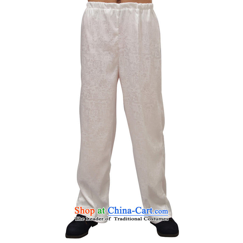 Charlene Choi this pavilion elderly men Tang dynasty summer pants traditional ethnic liberal jogging pant high elastic waist pant - Tomb Sweeping Day white pants?XL