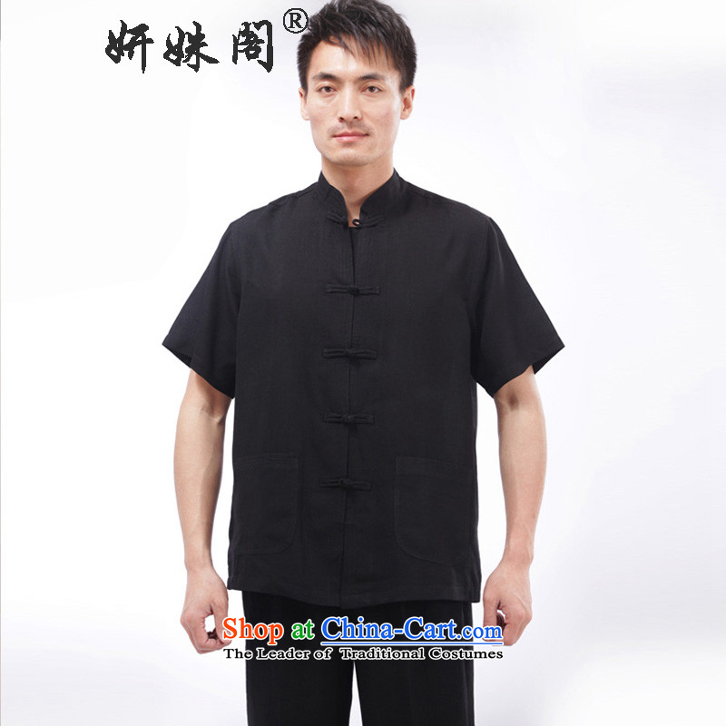 Charlene Choi this cabinet reshuffle is older Men's Mock-Neck load spring and summer-Tang dynasty detained loose short-sleeved exercise clothing national Dress Shirt - Flat T-shirt black 3XL