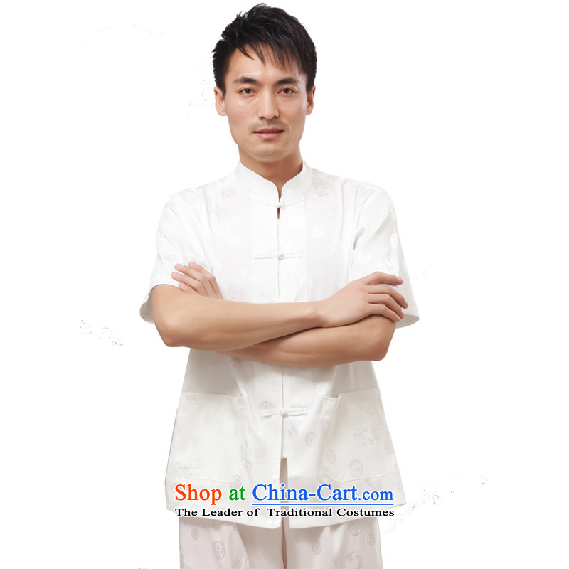 Charlene Choi this summer house elderly men serving traditional ethnic Chinese Tang dynasty loose exercise clothing Mock-Neck Shirt clip relax disc - Round Dragon short-sleeved white short-sleeved�L