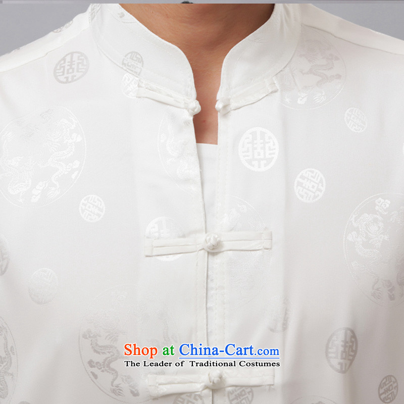 Charlene Choi this summer house elderly men serving traditional ethnic Chinese Tang dynasty loose exercise clothing Mock-Neck Shirt clip relax disc - Round Dragon short-sleeved white short-sleeved聽2XL, Charlene Choi this court shopping on the Internet has