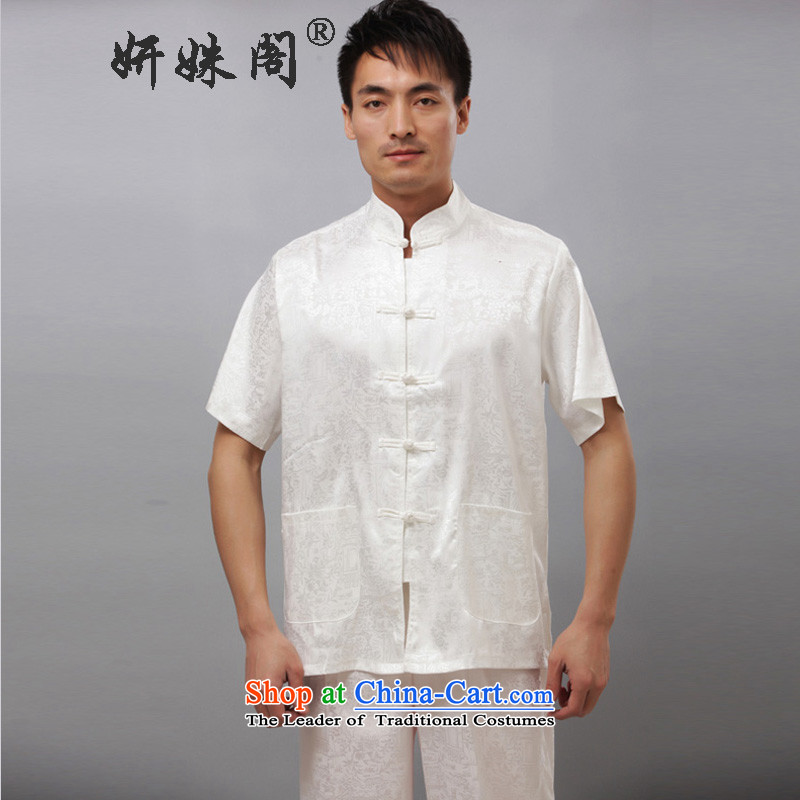Charlene Choi this cabinet men Tang casual clothes Taegeuk services and Chinese traditional clothing exercise clothing jogging - the River During the Qingming Festival  short-sleeved T-shirt white聽L