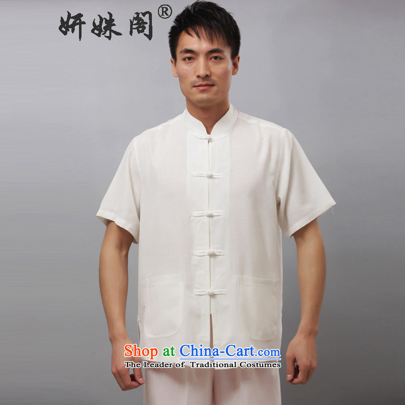 Charlene Choi this court of men in elderly men summer short-sleeved clothing national Kit Kung Fu Tang boxed loose exercise clothing collar Solid Color - print short-sleeve kit White�L