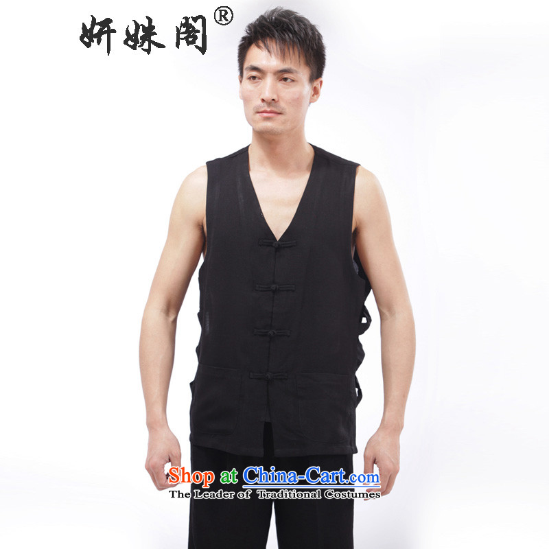 Charlene Choi this pavilion in Tang Dynasty elderly men summer costumes to V-neck disc detained father, a vest in practice - Flat vest shoulder kit 3XL black