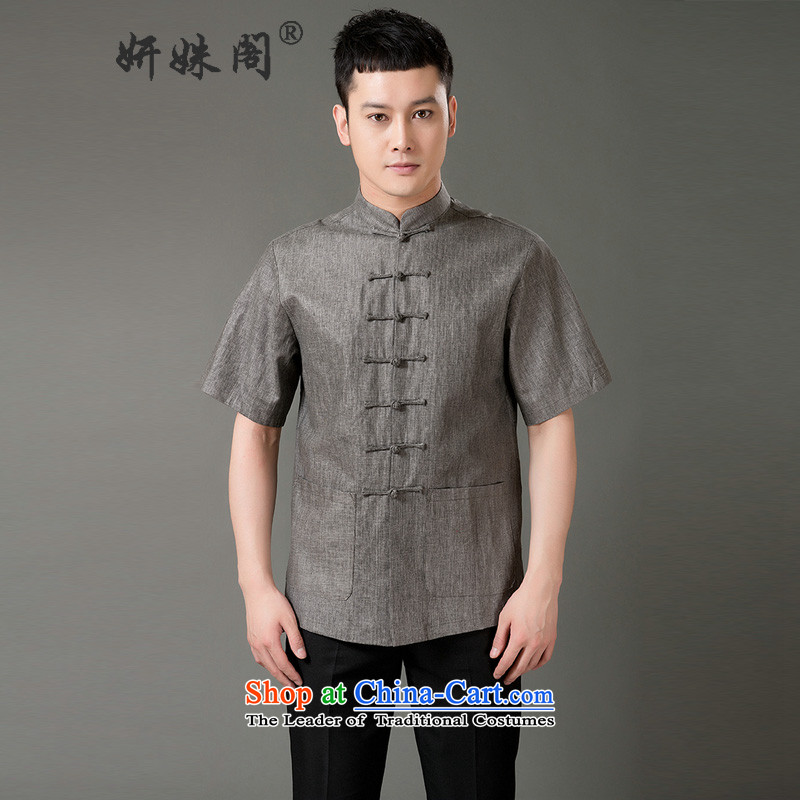 Charlene Choi this summer, men's elderly people in the Tang dynasty collar up short-sleeved T-shirt clip relaxd breathable pure cotton half sleeve old folk weave national - Old folk weave Short Dark Gray燣