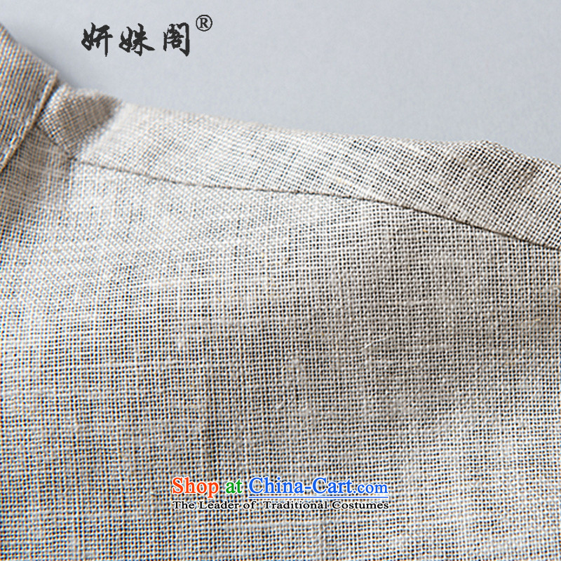 Charlene Choi this summer, men's elderly people in the Tang dynasty collar up short-sleeved T-shirt clip relaxd breathable pure cotton half sleeve old folk weave national - Old folk weave short dark gray聽, L, Charlene Choi this court shopping on the Inter