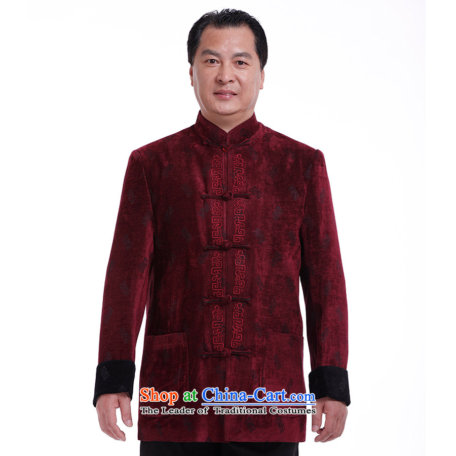 The South to men, Tang blouses jacket in autumn replacing Tang Dynasty Older long-sleeved jacket as four major traditional costumes?175/L Mauve