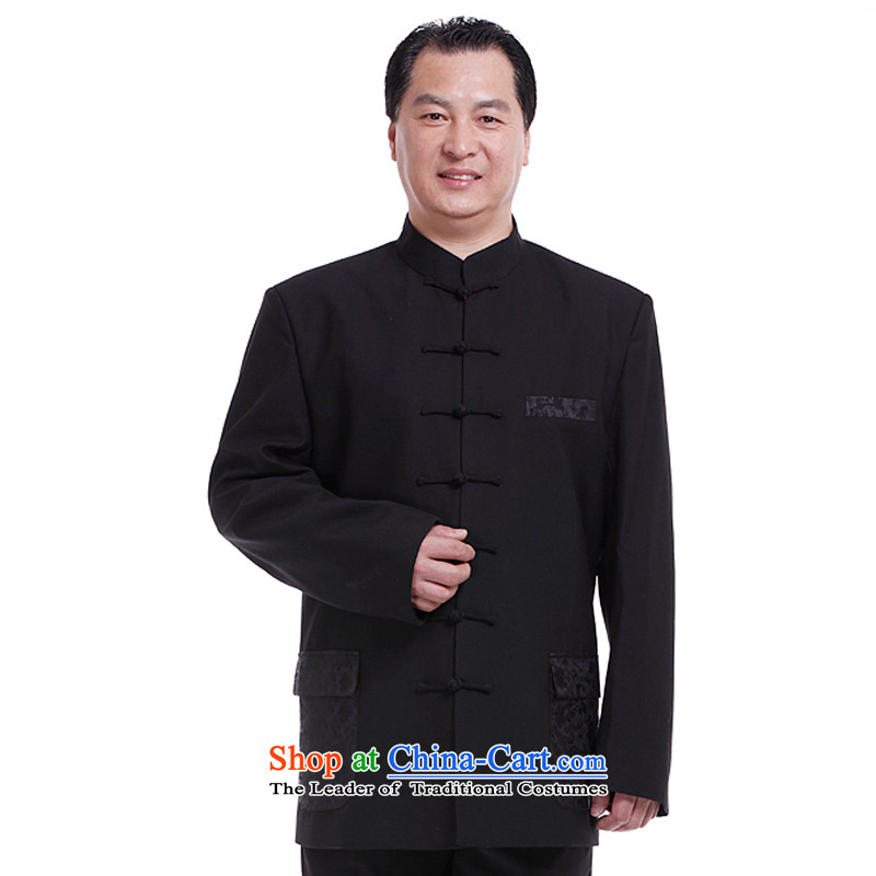 The South in Tang Dynasty nsongnian Chung Man Tang long-sleeved shirt with Chinese clothing spring and autumn Tang dynasty black jacket coat Z6036 black聽195_4XL male