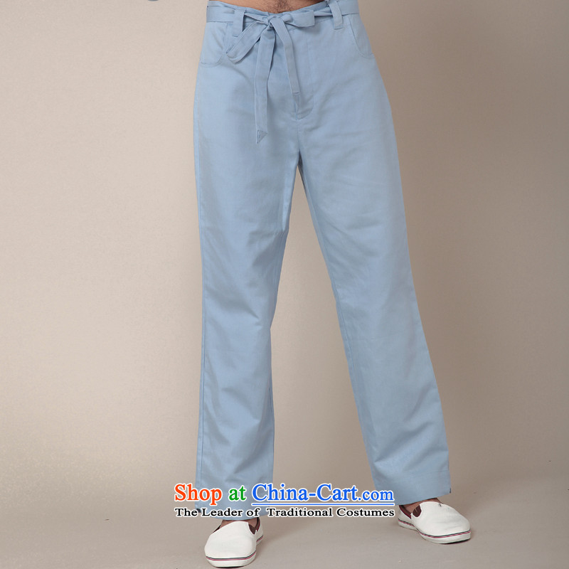 Seventy-tang China wind tai chi trousers Chinese cotton linen trousers elasticated waist relaxd casual pants and Tang dynasty improved pants kung fu trousers autumn new 381 2,005聽L