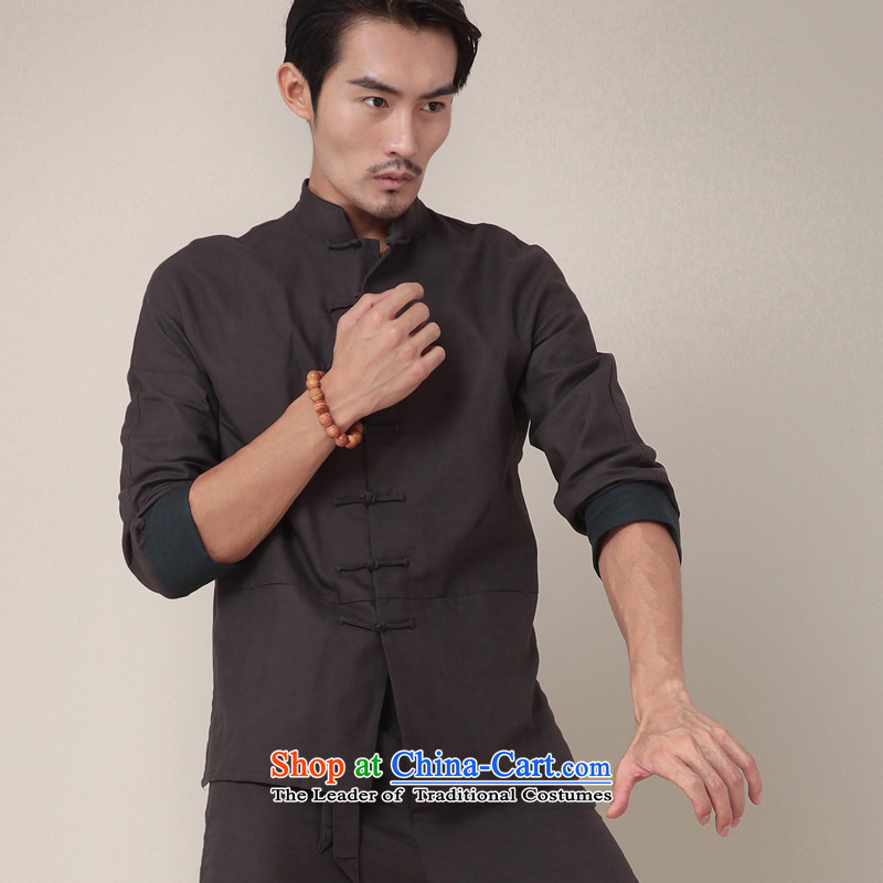 Seventy-tang China wind national stylish kung fu shirt cotton linen l male Han-Tang Dynasty Chinese Disc spring clip personality jacket carbon 369 L