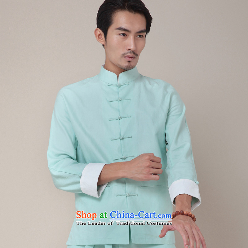 Seventy-tang China wind kung fu shirt national cotton linen Long Sleeve Mock Tang Dynasty Chinese men's jackets during the spring and autumn national costume 2014 Original 377 mint green燤
