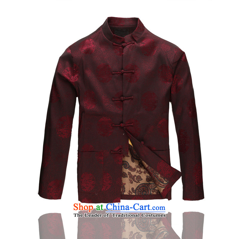 Hot Spring 2015 new products new men in Tang Dynasty older men Tang Dynasty Recreation Chinese Tang dynasty collar C-dark red XL