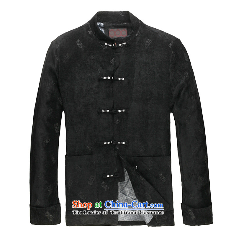 Spring 2015 new products from Vigers Po Man Tang jackets and cotton waffle Tang Dynasty Chinese men casual collar short-pack Black聽XL