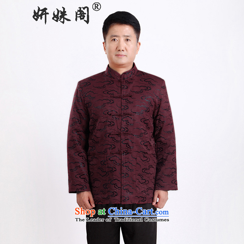 This new cabinet-yeon in Tang Dynasty elderly Men's Mock-Neck gown autumn and winter clothes xl long-sleeved jacket leisure father plus cotton warm cotton coat 1336 single聽3XL wine red