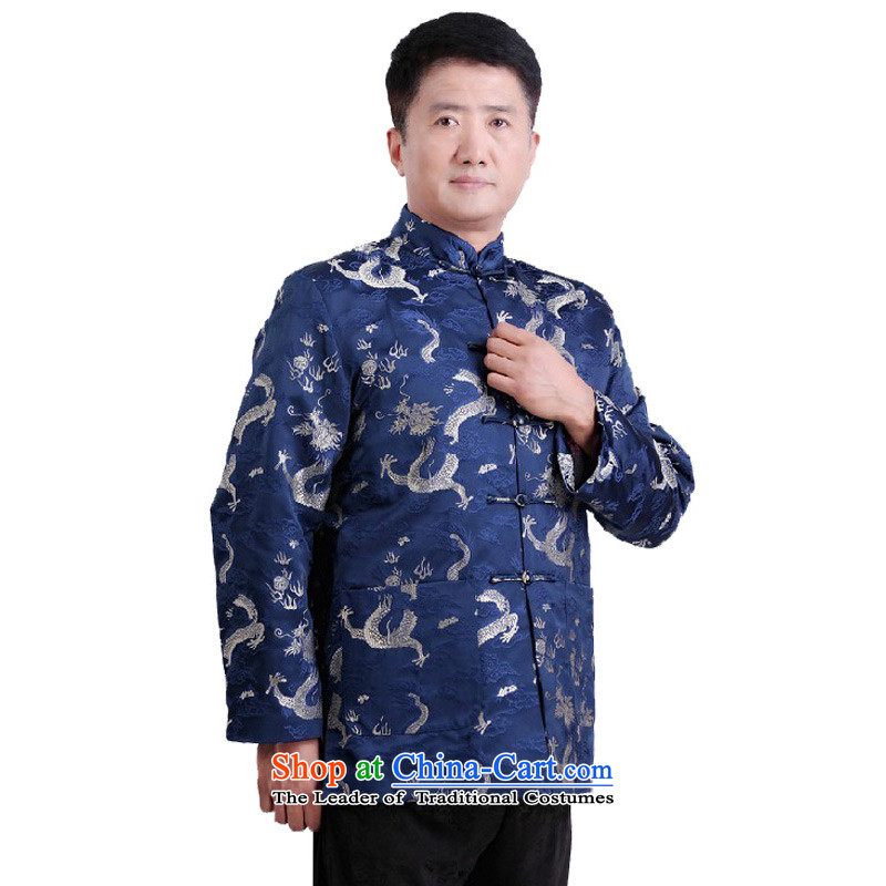 This new cabinet Yeon men in autumn and winter Mock-Neck Shirt leisure older Tang dynasty xl father loose coat festive dress?-1102??3XL blue