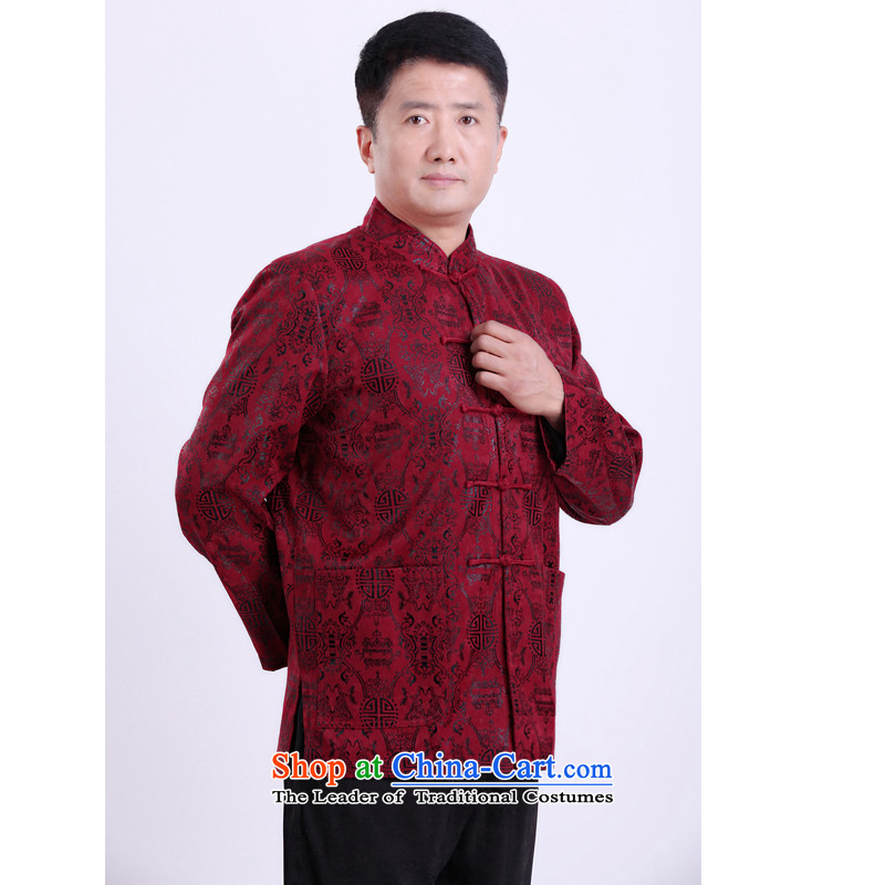 The Rafael Hui Kai autumn and winter new Tang dynasty in older Tang Blouses Chinese men too happy birthday gift shou clothing�1 35牋170_red .