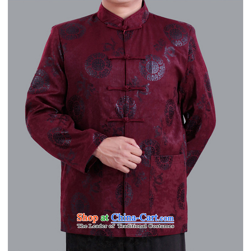 The Rafael Hui Kai�15 autumn and winter new Tang dynasty and the father in the Tang dynasty elderly men happy life has been life jacket A13136 Chinese clothing 190_ purple cotton plus