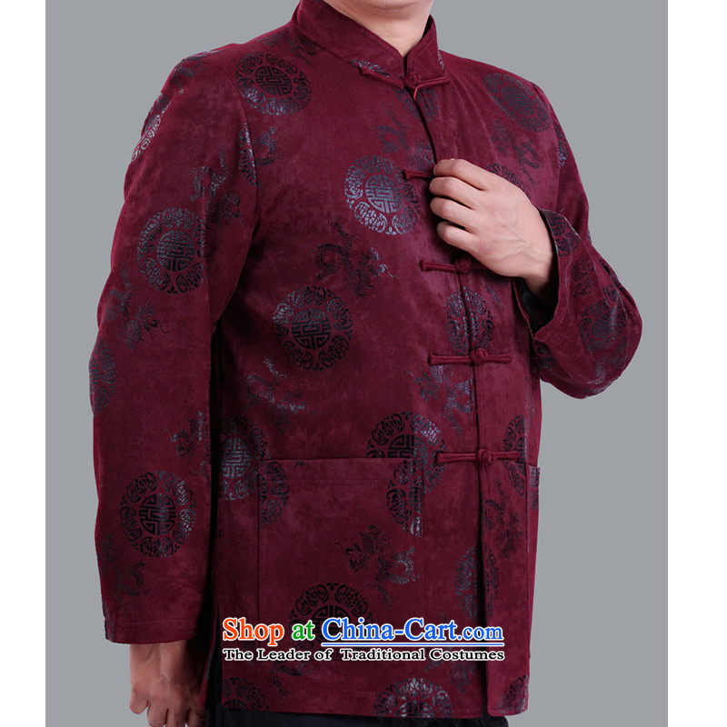 The Rafael Hui Kai聽2015 autumn and winter new Tang dynasty and the father in the Tang dynasty elderly men happy life has been life jacket A13136 Chinese clothing聽190/ purple cotton, Timor Sze-kai , , , shopping on the Internet
