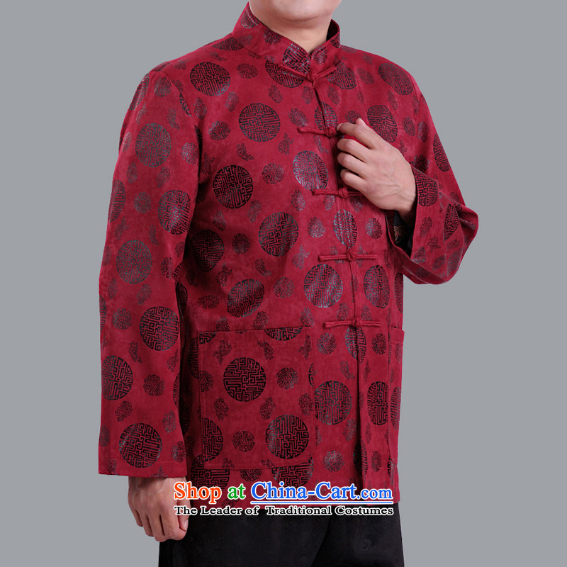 Jumbo benefit for the elderly to the Cave of the autumn and winter New Men long-sleeved jacket in Tang elderly men of ethnic costumes men Tang dynasty 1283 Winter, cotton Clip Red?170