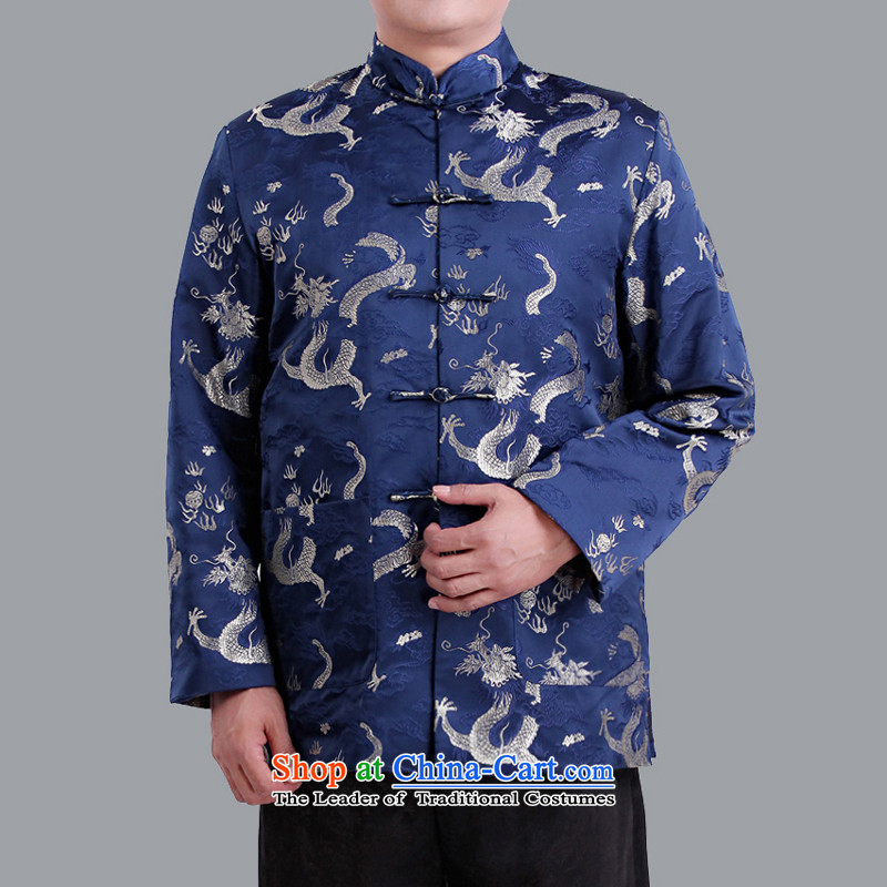 The Cave of the elderly in the autumn and winter older men China wind auspicious dragon men long-sleeved jacket Tang collar men of ethnic costumes 1102 Blue 175