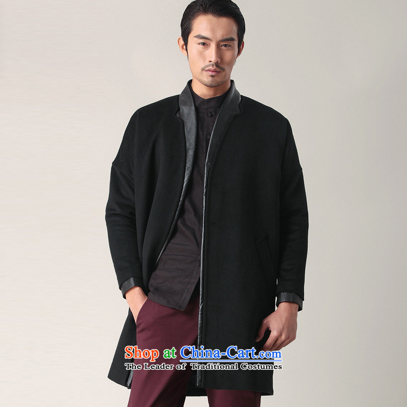 Seventy-tang China wind Han-washable wool coat long leather? edge coats Chinese windbreaker male and stylish casual jacket business Sau San Tong replacing 02401 autumn black�M