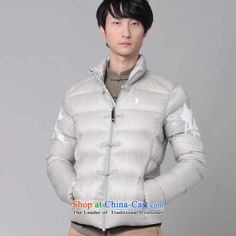 Nt 2.7 no polarity Tang Road down China wind Men's Mock-Neck Leisure Taegeuk stamp light duvet Tang dynasty low down jacket winter thick Chinese national costumes 86-0518silver gray XL