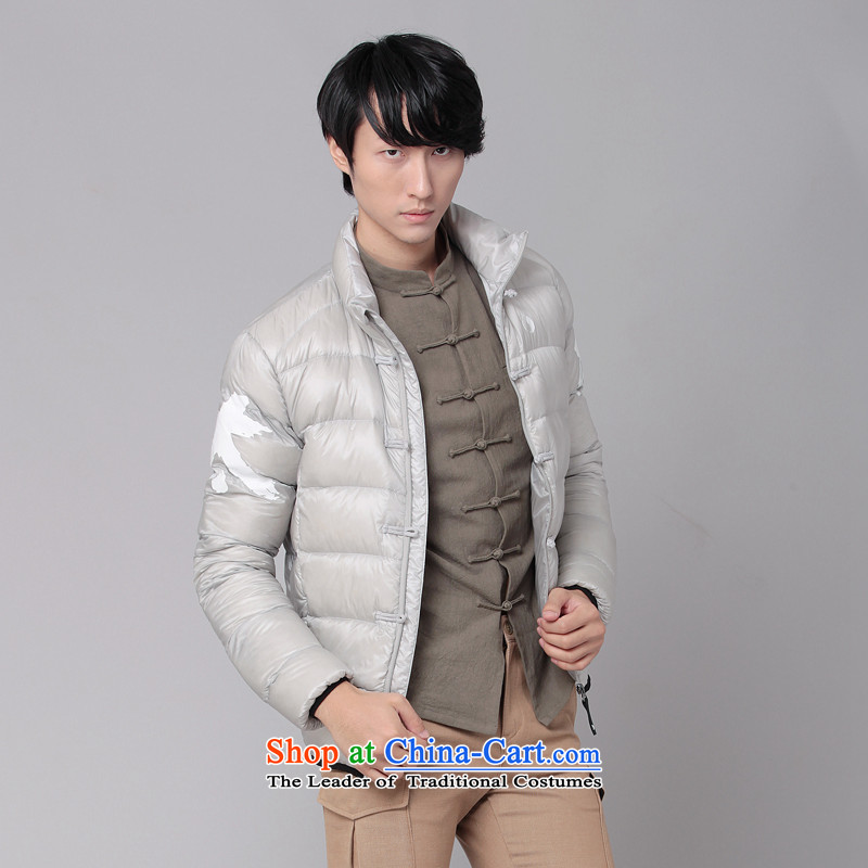 Nt 2.7 no polarity Tang Road down China wind Men's Mock-Neck Leisure Taegeuk stamp light duvet Tang dynasty low down jacket winter thick Chinese national costumes 86-0518silver gray XL, Tsat Tang (seventang design shopping on the Internet has been pressed