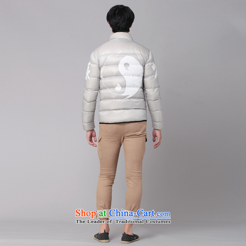 Nt 2.7 no polarity Tang Road down China wind Men's Mock-Neck Leisure Taegeuk stamp light duvet Tang dynasty low down jacket winter thick Chinese national costumes 86-0518silver grayXL, Tsat Tang (seventang design shopping on the Internet has been pressed