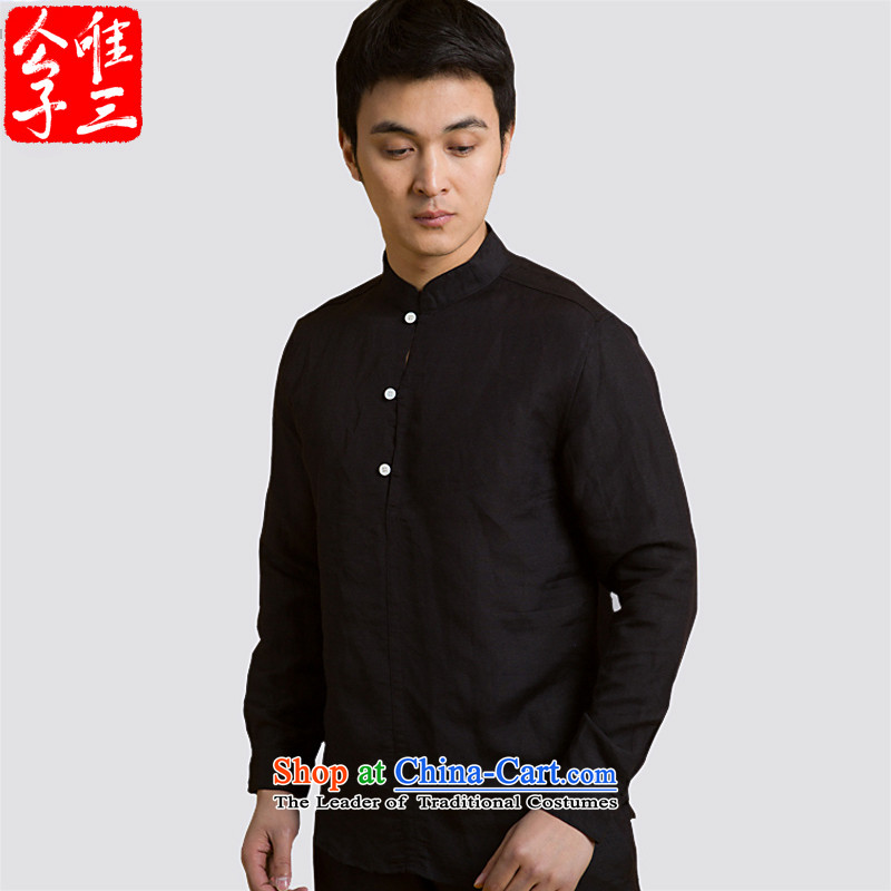Cd 3 China wind is Cisco's Mock-Neck Shirt linen Sau San male Chinese long sleeved shirt improved Tang dynasty stylish black 175/92A(L) meditation maximum