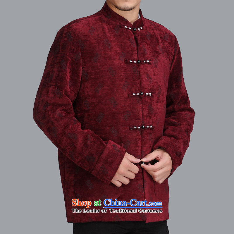 The spring of 2015 in a stylish new elderly men Tang Dynasty Chinese men's jackets leisure trend Tang dynasty c505 male wine red 175 yards