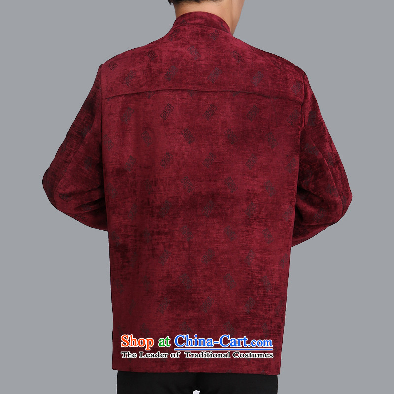 The spring of 2015 in a stylish new elderly men Tang Dynasty Chinese men's jackets leisure trend Tang dynasty c505 male wine red 175 yards, the ancestor of the elderly has been pressed shopping on the Internet