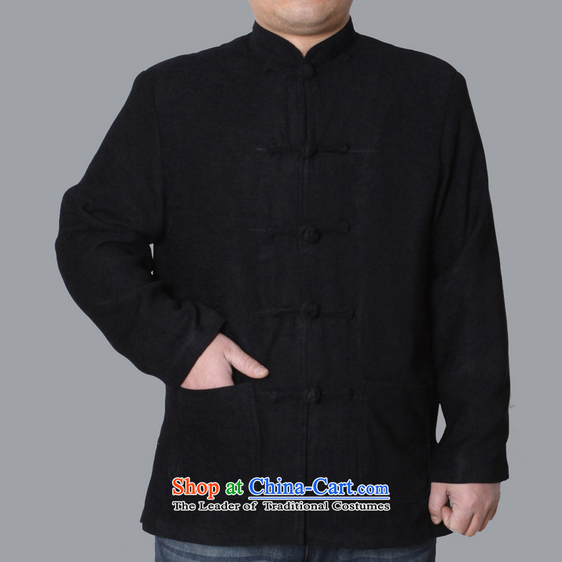 The Cave of the elderly聽by 2015 autumn and winter new elderly men Tang dynasty upscale Chinese men's jackets leisure pure color male Tang dynasty聽W086聽black聽175 yards