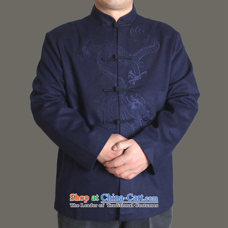 The Cave of the elderly聽15 autumn and winter New Men Tang jackets of solid color-Soo Yong burrs Tang dynasty men fall older clothing father upscale Tang dynasty Y717 Blue聽180